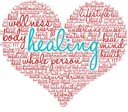 Healing word cloud on a white background.  Illusztráció