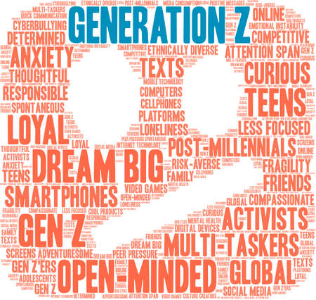 Generation Z word cloud on a white background.