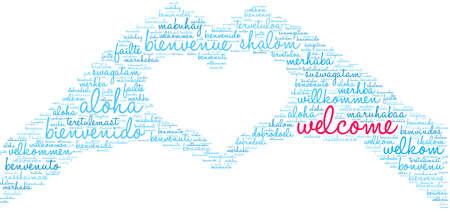 Nube di parole di benvenuto internazionale. Ogni parola utilizzata in questa nuvola di parole è un'altra versione linguistica della parola Benvenuto.