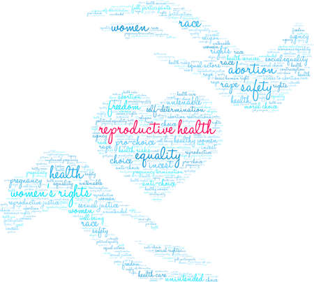 Reproductive Health word cloud on a white background.