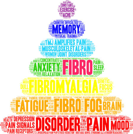 Fibro word cloud on a white background. Stock Illustratie