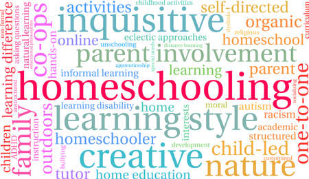 Homeschooling word cloud on a white background. Stock Vector - 125876680