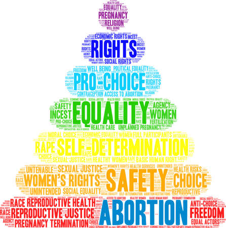 Abortion word cloud on a white background. Vettoriali