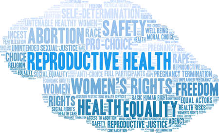 Reproductive Health word cloud on a white background. Illustration