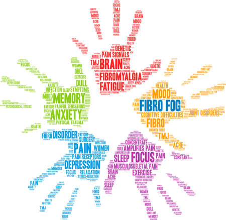 Fibro Fog word cloud on a white background.   イラスト・ベクター素材