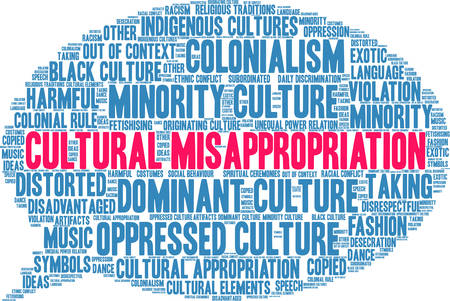Cultural Misappropriation word cloud on a white background.