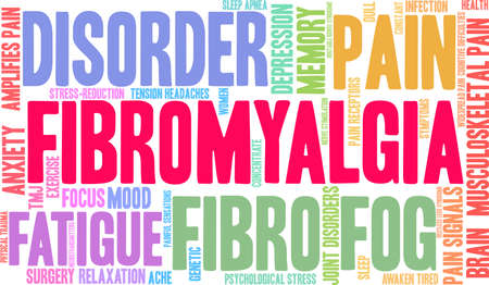 Fibromyalgia word coud on a white background.