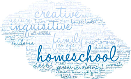 Homeschool word cloud on a white background.