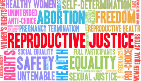 Reproductive Justice word cloud on a white background.