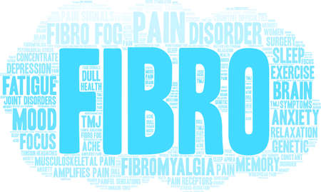 Fibro word cloud on a white background. Illustration