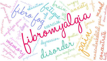 Fibromyalgia word coud on a white background.
