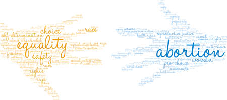 Abortion word cloud on a white background. Ilustração