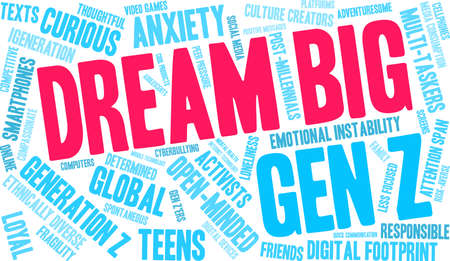 Dream Big Generation Z Word Cloud on a white background. Çizim