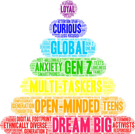 Dream Big Generation Z Word Cloud on a white background.  イラスト・ベクター素材