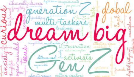 Dream Big Generation Z Word Cloud on a white background. Ilustração