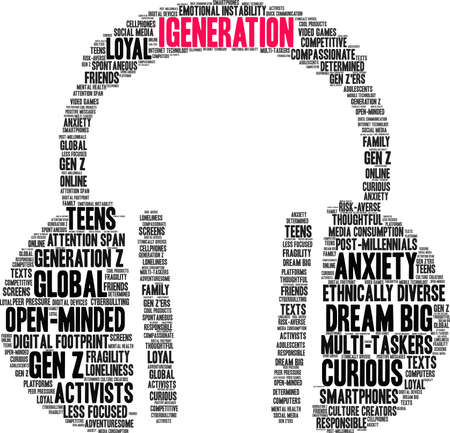 iGeneration word cloud on a white background.  일러스트
