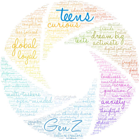 Teens word cloud on a white background. Banco de Imagens - 125877279