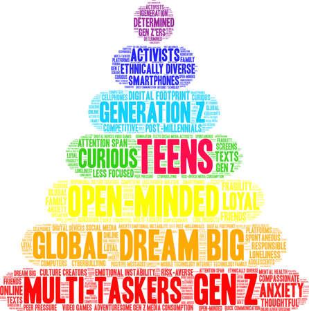 Teenager-Wortwolke auf weißem Hintergrund.