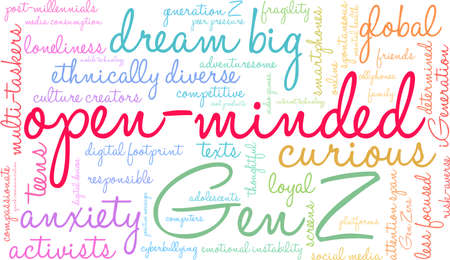 Open-Minded Generation Z word cloud on a white background. Banco de Imagens - 125877282