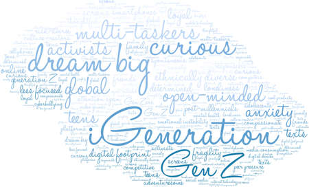 iGeneration word cloud on a white background.