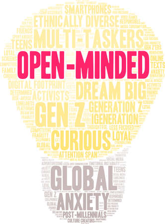 Open-Minded Generation Z word cloud on a white background. Banco de Imagens - 125877286