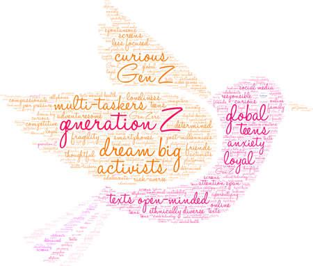 Generation Z-Wortwolke auf weißem Hintergrund.
