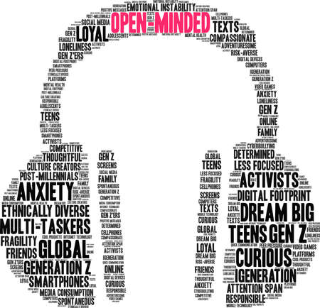 Open-Minded Generation Z word cloud on a white background. Banco de Imagens - 125877293
