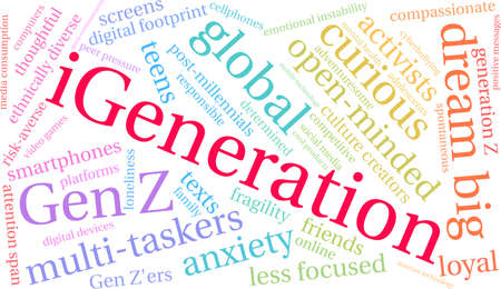 iGeneration word cloud on a white background. Banco de Imagens - 125877294