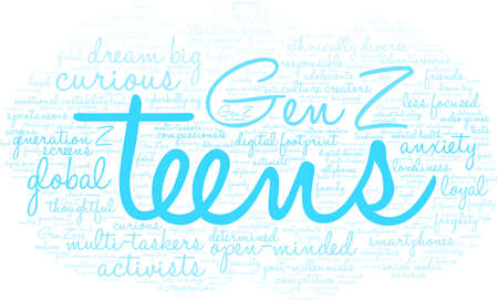 Teens word cloud on a white background. Banco de Imagens - 125877296