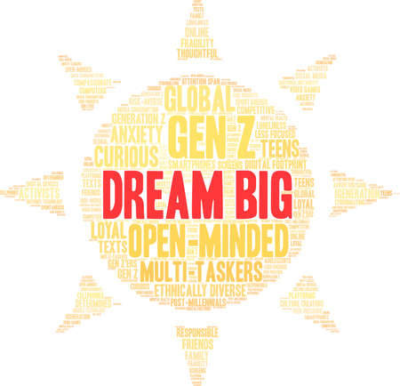 Dream Big Generation Z Word Cloud on a white background. Ilustração