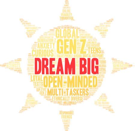 Dream Big Generation Z Word Cloud on a white background. Çizim