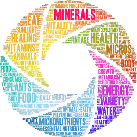 Minerals word cloud on a white background.