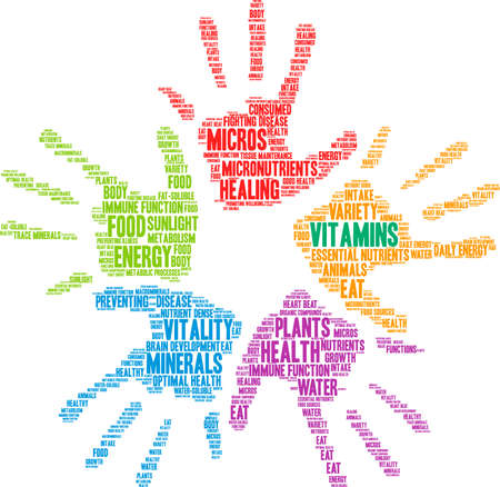 Vitamins word cloud on a white background. Ilustração