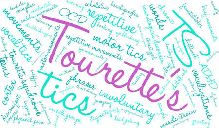 Tourettes word cloud on a white background.