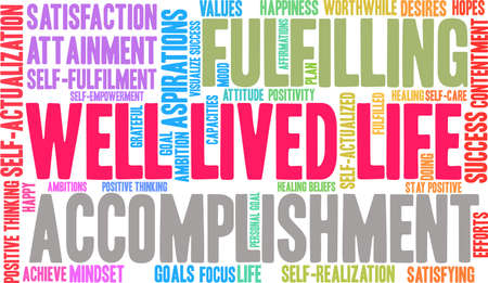 Well Lived Life word cloud on a white background. Vectores