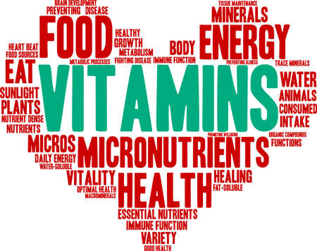 Vitamins word cloud on a white background.