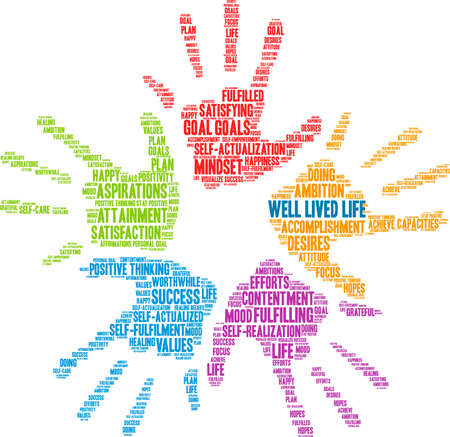 Well Lived Life word cloud on a white background. Illustration