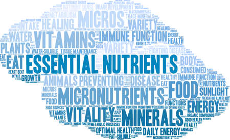 Essential Nutrients word cloud on a white background. Ilustração