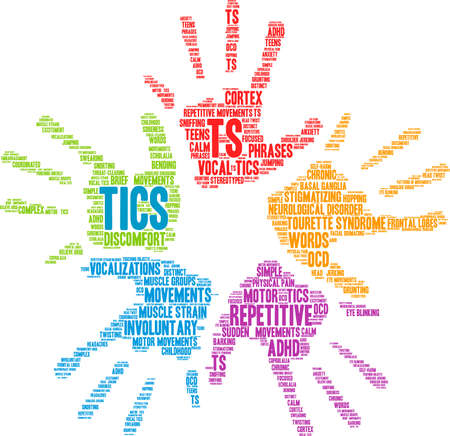 Tics from Tourette Syndrome word cloud on a white background.