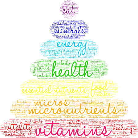Vitamins word cloud on a white background. Ilustrace