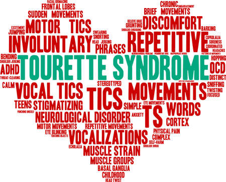 Tourette Syndrome word cloud on a white background. 矢量图像