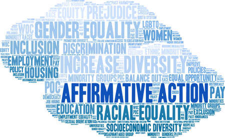 Affirmative Action word cloud on a white background.  イラスト・ベクター素材