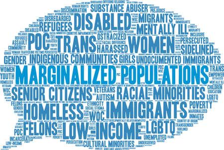 Gemarginaliseerde bevolking woord wolk op een witte achtergrond. Vector Illustratie