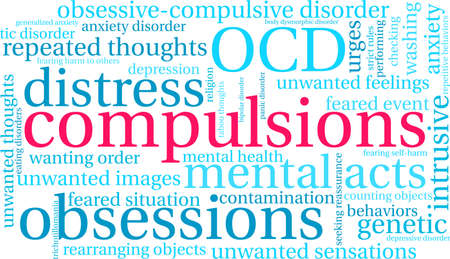 Compulsions word cloud on a white background. Imagens - 130533808