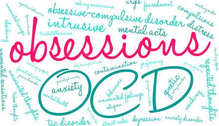 Obsessionen-Wortwolke auf weißem Hintergrund. Vektorgrafik