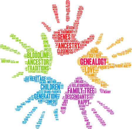 Genealogy word cloud on a white background. Banco de Imagens - 130533979