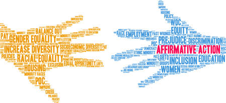 Affirmative Action word cloud on a white background. Illustration