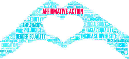 Affirmative Action word cloud on a white background. 向量圖像