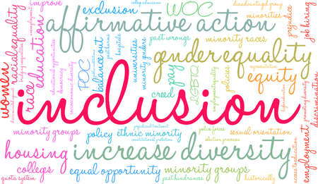Inclusion word cloud on a white background. Çizim