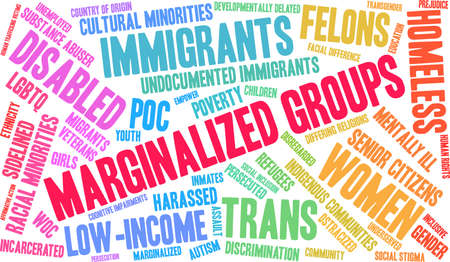 Marginalized Groups word cloud on a white background. Ilustrace